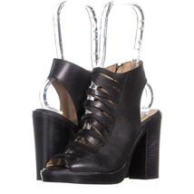Steve Madden Sevvile Open-Toe Heeled Sandals 708, Black Leather, 6 US - $39.35