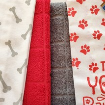 Dog Lover Kitchen Set, 7-pc, Pet Decor, Tea Towels, Clips, Red Grey image 5