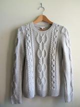 GAP Women's Cable Metallic Sweater Acrylic Wool, Beige Silver, M, Pre-owned - $26.99