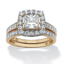 WEDDING ENGAGEMENT RING SET PRINCESS CUT 18K GOLD SIZE  6 7 8 9 10 - $135.37