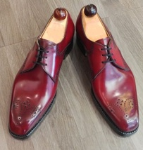 Handmade Men's Burgundy Heart Medallion Dress/Formal Oxford Leather Shoes image 3