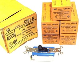 LOT OF 5 NIB HUBBELL 1201-G A.C. TOGGLE SWITCHES 15AMP, 120/277V, BROWN, 1201G