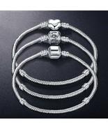 Pandora Love Snake Chain Charm Bracelet DIY Bead Bangles Jewelry Gifts 1... - $7.75