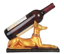 """Gold Tone Painted Egyptian Theme Style Anubis 11"""" Wine Bottle Holder image 1"""