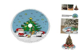 Snoopy and Santa Claus Christmas Tree Skirt 36 Inch Fringed Edge 36 Black2 - $30.35