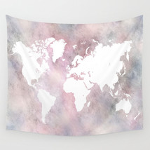 Wall Tapestry Wall Hanging Printed USA Design 66 world map pink white L.... - $49.99+