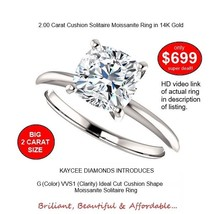 14K Gold 2.00 Carat (7.5mm) G (color) VVS1 (clarity) Cushion Moissanite ... - $699.00