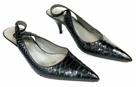Via Spiga Vivio Women's 7M Black Snakeskin Slingbacks Slipon Kitten Heel... - $29.52