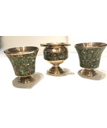 Vintage copper vase containers and ashtray with green enamel outer - $35.00