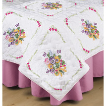 "Tobin Stamped White Quilt Blocks 18""X18"" 6/Pkg-Pansies - $14.51"