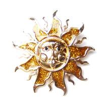 Brooch Sun Gold Fairytale Fantasy Comic Sparkle Unisex Men Male Lovely Suit Pin - $8.99
