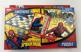 Spiderman Games, Checkers, Card Game-Go-Spidey(Go Fish), Puzzle-48 piece, 3in1 - $8.90