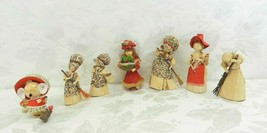 7 Vintage Corn Husk Doll Christmas Ornaments - Housework Mouse - $15.83