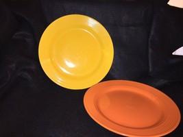 """Set of 2 Royal Norfolk 10 3/4"""" 1Yellow / 1-Orange Dinner Plates, Ridges Rim - $21.51"""
