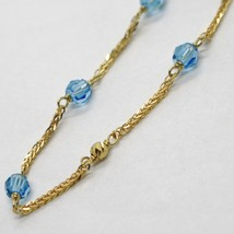 18K YELLOW GOLD NECKLACE EAR SQUARE CHAIN ALTERNATE WITH FACETED BLUE BALLS 4 MM image 2