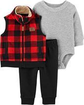 Carter's Baby Boys 3 Piece Vest Set, Buffalo Check, 24 Months - $28.94