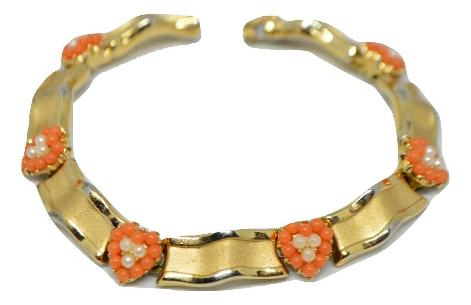 Crown Trifari Bracelet Faux Coral Lucite Bead Faux Pearls Gold Tone Heart - $79.19