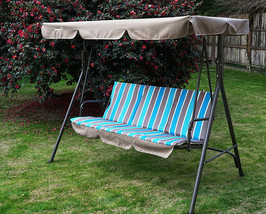 Swing With Stand Adjustable Canopy Porch Patio 3 Seater Bench Outdoor Lo... - $153.44