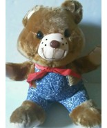 "Dan Brechner Plush Toy Co  Bear 21""  Blue Overalls Red Handkerchief Soft... - $24.00"