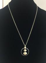 "Liz Claiborne Silver Tone White Bead Accents Circle Pendant 24"" Necklace  - $14.72"