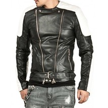 Men's Genuine Lambskin Leather Motorcycle Jacket Retro Slim fit Biker Ja... - $109.99