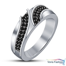 Black Diamond 14k White Gold Plated Pure 925 Silver Men's Band Engagemen... - $84.99