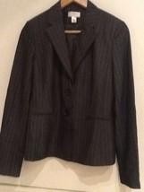 ANN TAYLOR LOFT Womens 4 Gray Silver Pinstripe Long Sleeve Suit Blazer J... - $12.95