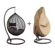 Free Cover Outdoor Rattan Wicker Hanging Hammock Proch Swing Chair w/ 6 ... - $569.96