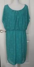 AGB Womens Casual Summer Dress Sz 14W Teal Green Knee Length Short Sleeve - $14.85