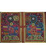 Kuna Abstract Mola Hand stitched Collectible Applique Folk Art Bird Duck... - $66.49