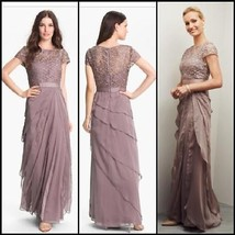 Adrianna Papell New Womens Mocha Lace Tiered Bodice Evening Dress Gown   10 - $187.11