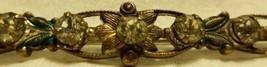 Metal Bar Pin Brass White Rhinestones Victorian Floral Green Design - $18.99