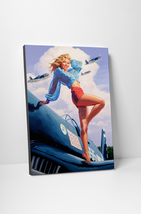 Vargas Inspired Sexy Pin Up American Wings Mounted Canvas Wall Art - $44.90+