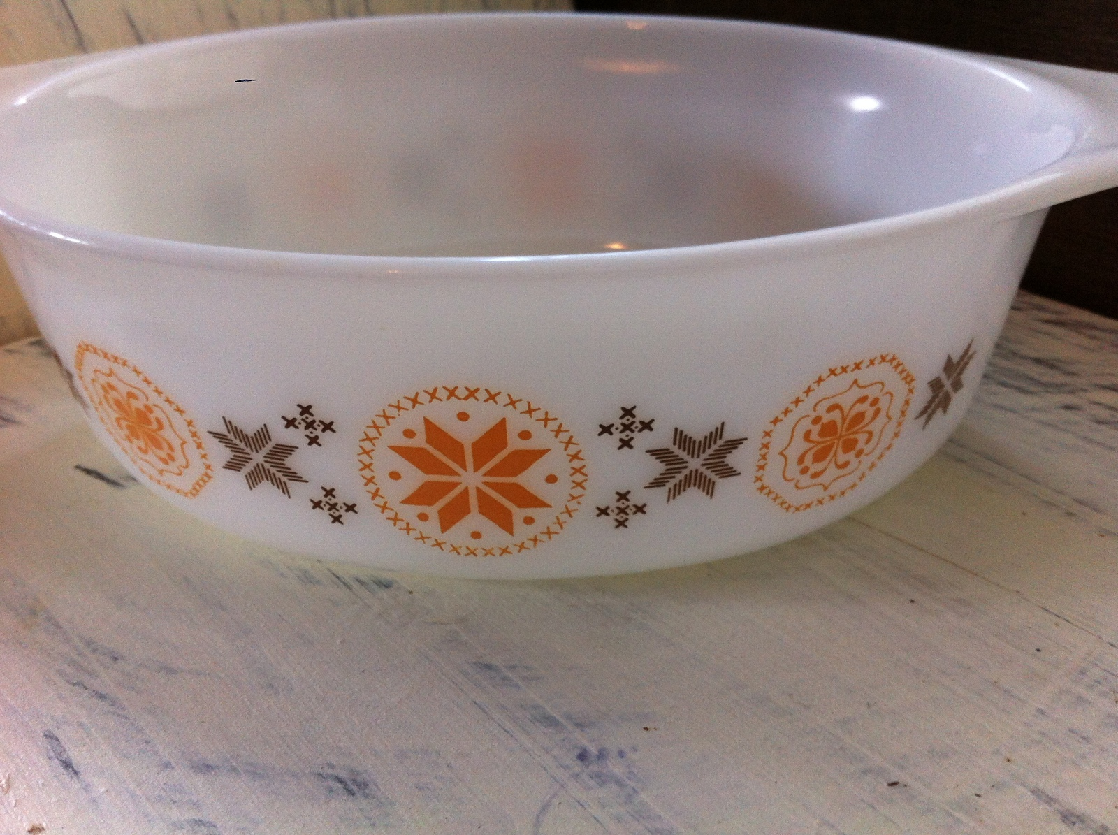 Vintage Pyrex Town & Country Brown/Orange Casserole Dish No. 043 1 1/2 qt.~ USA