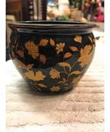 Pottery Planter Small Flower Bowl Glossy Black Raised Floral Design 24 Kt - $29.48