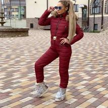 European Women's Fashion OnePiece Fur Lined Hooded Blue Ski Suit Snowsuit image 9