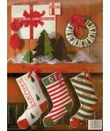 Plastic Canvas Christmas Trees  Stockings Placemat Wreath Ornaments Patt... - $13.99