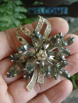 "Beautiful Large 2""+ Designer Signed Weiss Rhinestone Brooch, Needs 2 Tin... - $19.95"