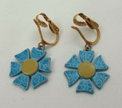 "VINTAGE GOLD TONE BLUE FLOWER DROP/DANGLE Earrings APPROX. 2.5"" (I) - $7.02"