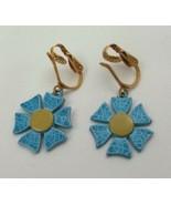 """VINTAGE GOLD TONE BLUE FLOWER DROP/DANGLE Earrings APPROX. 2.5"""" (I) - $7.02"""