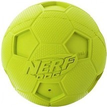 Nerf Dog Soccer Squeak Ball Dog Toy, Medium, Green - £12.15 GBP