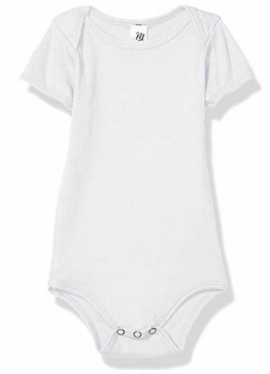 Marky G Apparel Baby Rib Short-Sleeve One-Piece- White- 12-18 Months