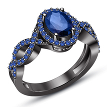 Thanksgiving Festival Offer, Black Gold Plated 925 Silver Sapphire Women... - £58.03 GBP