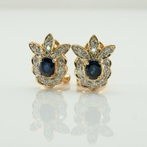 Diamond Sapphire Earrings Flower 18K Gold Vintage  - €1.193,31 EUR