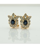 Diamond Sapphire Earrings Flower 18K Gold Vintage  - ₹107,407.83 INR