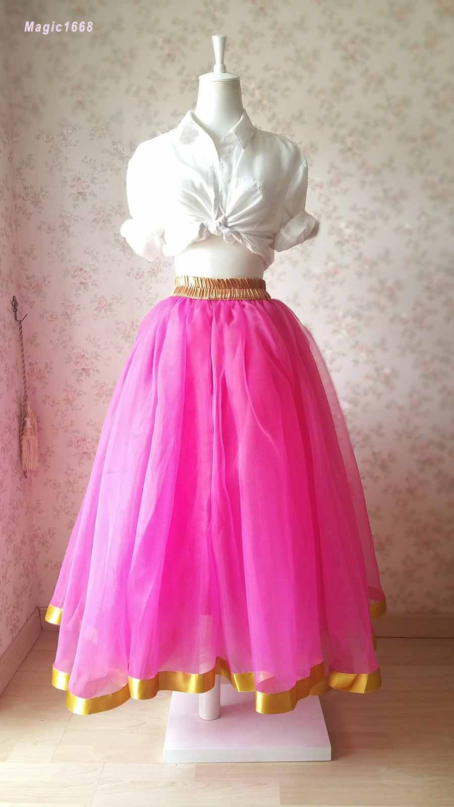 Fuchsia and Golden Tulle Long skirt Tulle Mesh Princess Skirt, Ballet Skirt NWT