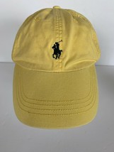 Polo Ralph Lauren Hat Leather Strap Pony Yellow Vintage 90s Dad Cap Spel... - $44.54