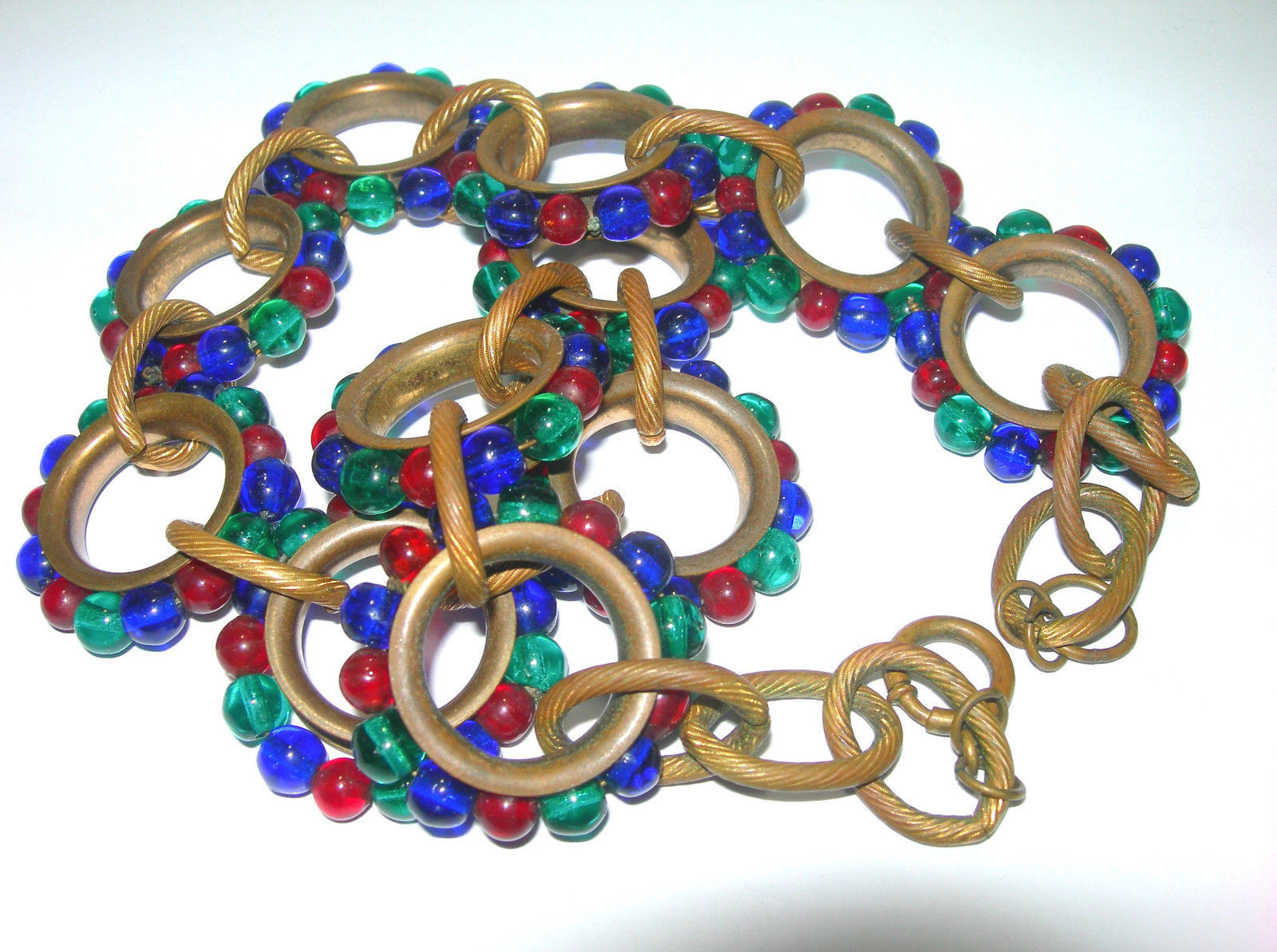 VINTAGE UNSIGNED 1930s POURED ART GLASS RED GREEN BLUE BRASS NECKLACE