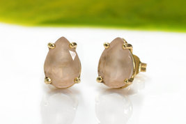 Rose quartz earrings,pink quartz earrings,pear earrings,teardrop earrings - $70.00+
