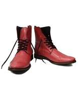 High Ankle Pink Punch Color Cap Toe Handmade Leather Lace Up Stylish Men... - $149.99+